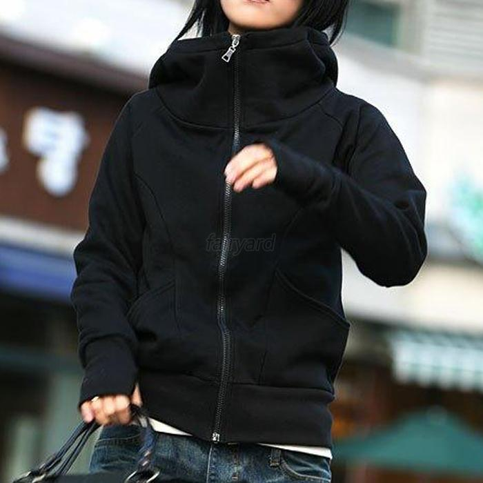Casual Women Hoodies Coat Top Jacket High Tie Zipper Sweatshirt Hooded Outerwear