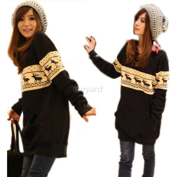 Cute Women Deer Print Long Blouse Warm Sweater Dress Crewneck Tops Long Sleeve