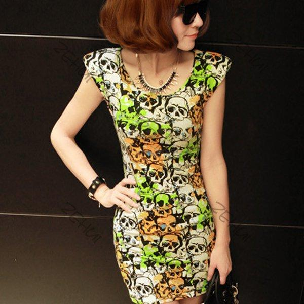 New Korea Styles Ladies Crewneck Puff Printed Causal Cap Sleeve Mini Dress Slim