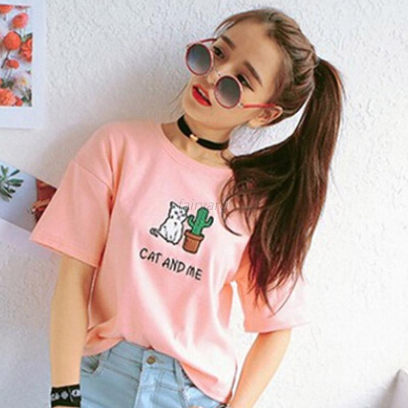 Women Gril Casual Short Sleeve T-shirt Blouse Cute Cartoon Print Tank Tops Shirt
