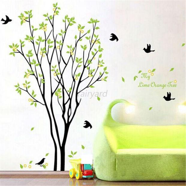 New tree bird quote removable vinyl wall decal mural home for Diy tree wall mural