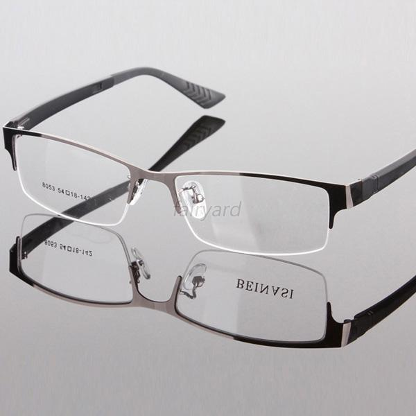 Gentry Mens Eyewear Metal Half Rim Designer Clear Lens Eye Glasses Frame F27