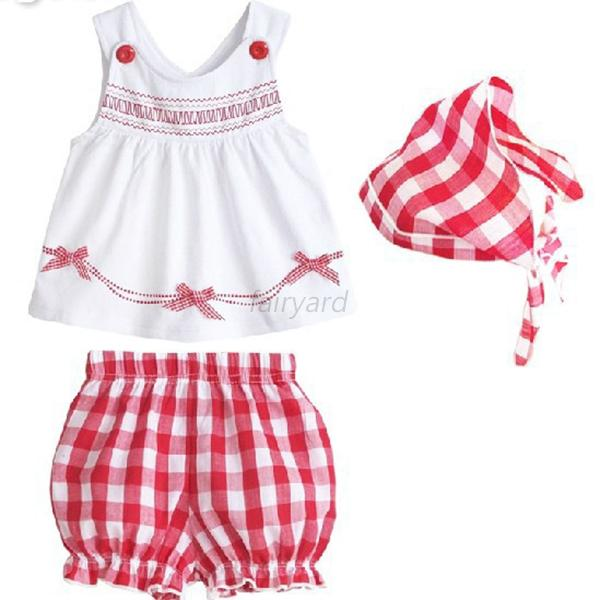 Toddler Baby Kids Girl Tops+Shorts+Scarf Outfits 3pcs Set Sleeveless Clothes1-3Y