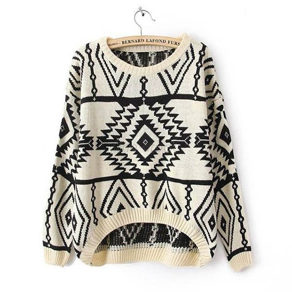 New Womens Knit Long Sleeve Geometry Design Printed Oversize Pullover Sweater