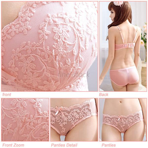 Womens Underwire Push Up Bra Lace Bra Set Suits Underwear Outfits Cup A B C F78