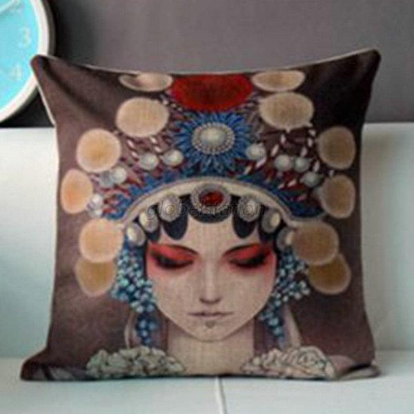"Cotton Linen Zen Buddha Tea Peking Opera Pillow Case Cushion Cover 17""X17"" G12"