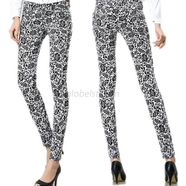Spring Women Slim Floral Print Cotton Jeans Flower Skinny Straight Pencil Pants