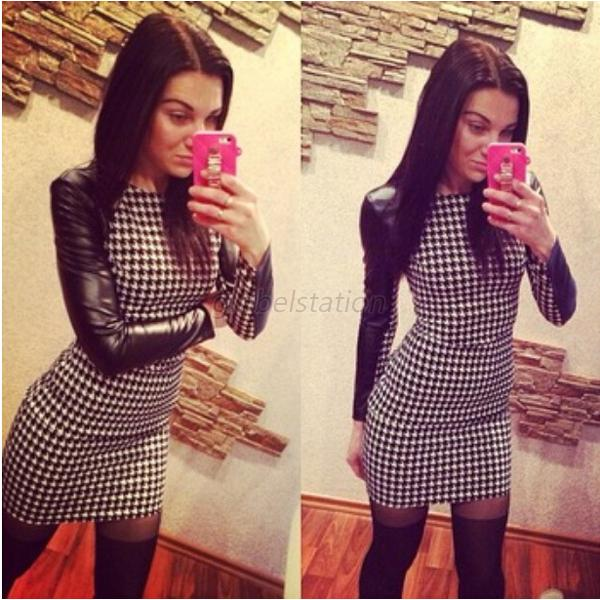 Women Long Sleeve PU Houndstooth Evening Party Clubwear Mini Dress Bodycon G34