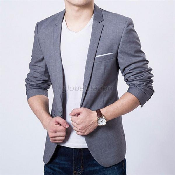 New Stylish Men Casual Slim Fit One Button Suit Blazer Business Coat Jacket Tops