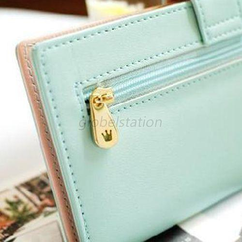 Trendy Women's Ladies Candy Color Faux Leather Crown Long Wallet Purse Billfold