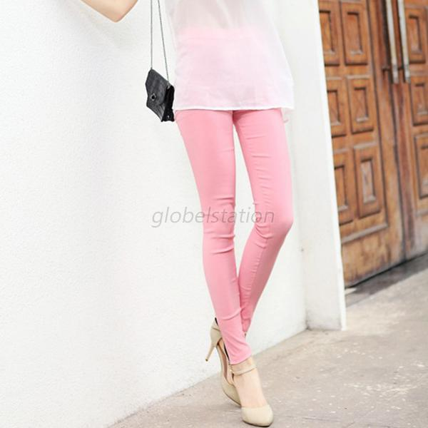 Womens Candy Colors Stretch Pencil Pants Casual Slim Fit Skinny Elastic Trousers