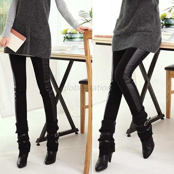 Fashion Side Faux PU Leather Leggings Skinny Pencil Pants Trousers G85