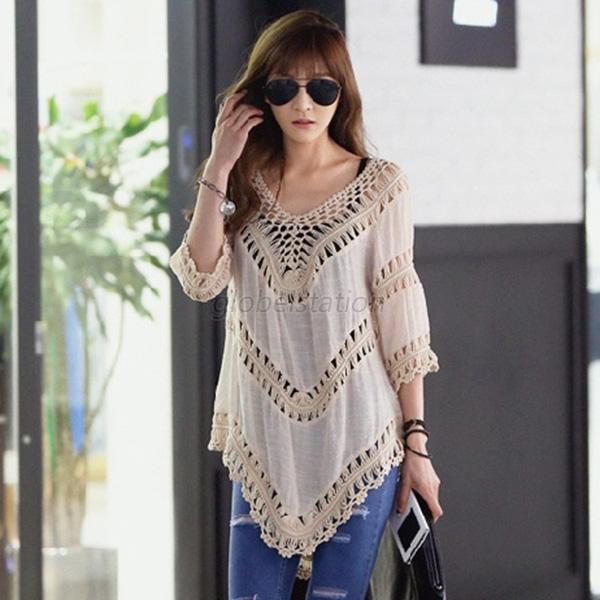 Women Vintage Hollow Out Crochet Tees Shirt Tops Blouse Swimwear Cover Up G50