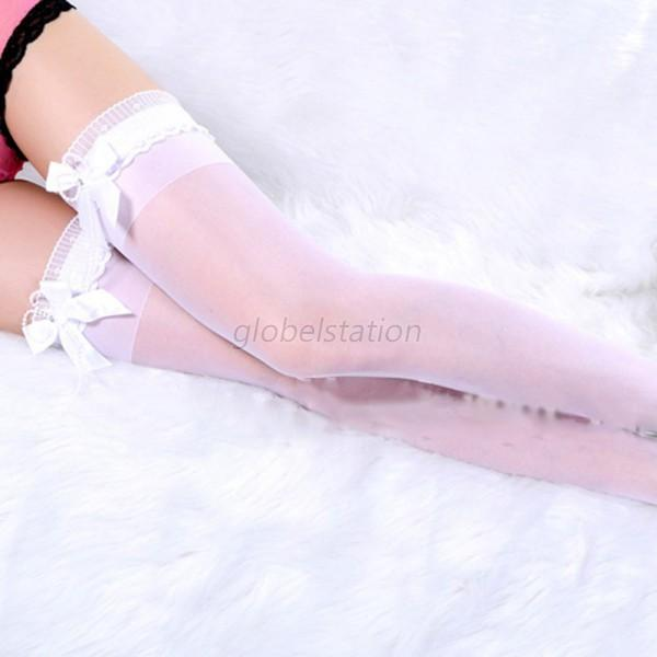 Lady Women Sexy Bow Lace Top Stay Up Thigh-Highs Stockings Tights Pantyhose G54