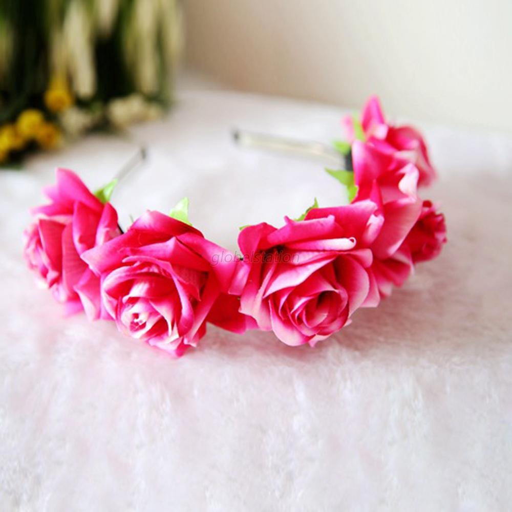 New Rose Flower Garland Hair Head Band Crown For Bride Flower Girl 6 Colors G80