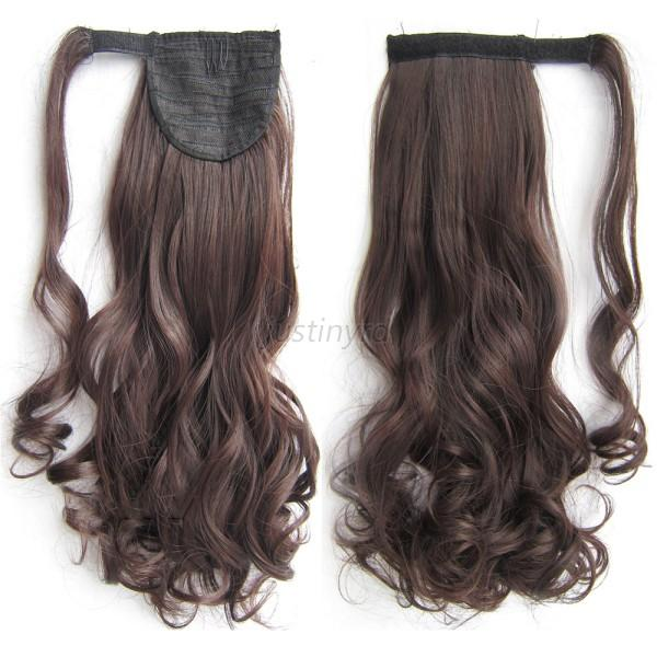 Hot Women Curly Pony Tail Wrap Around Clip In Ponytail