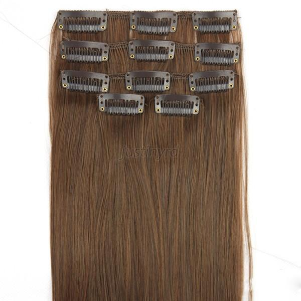 Women Long Straight Hair Full Head 5 Pieces Clip in Hair Extensions 7Colors J59