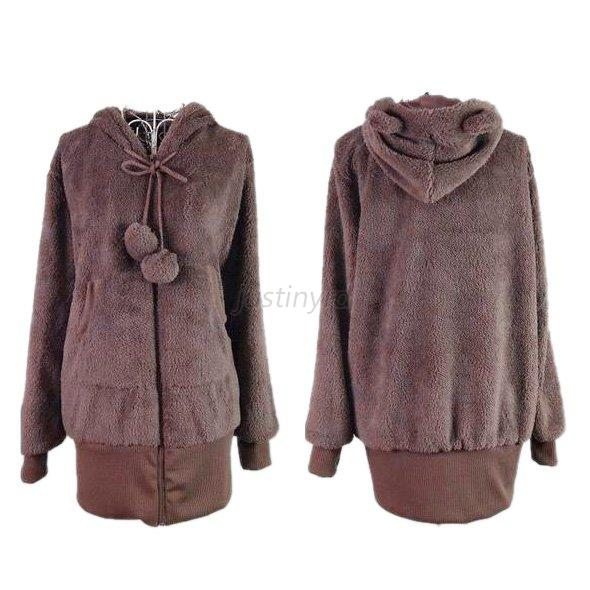 winter warm women cute teddy bear ear coat hoodie jacket. Black Bedroom Furniture Sets. Home Design Ideas