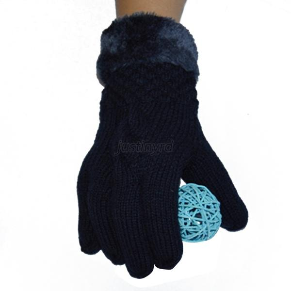 Lined Mittens Knitting Pattern : Womens Faux Fur Knitted Mittens Gloves Lined Thermal Skiing Warm Winter Gift ...