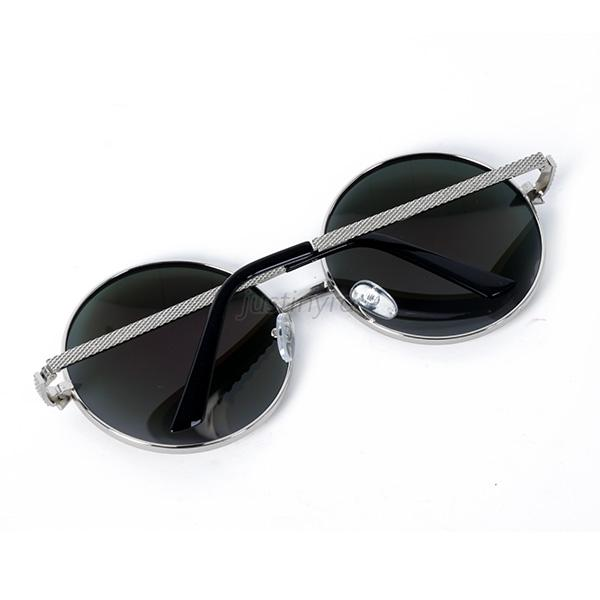 Womens Oversized Punk Reflective Metal Sunglasses Round Shaped Spectacles J23