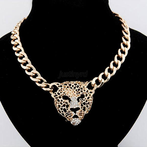 Ladies Jewelry Gold Statement Bib Necklace Chain Alloy Choker Lion Head Pendant
