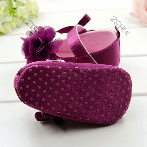 Lovely Baby Shoes Kids Girls Bowknot Flower Soft Bottom Cozy Crib Toddler Shoes