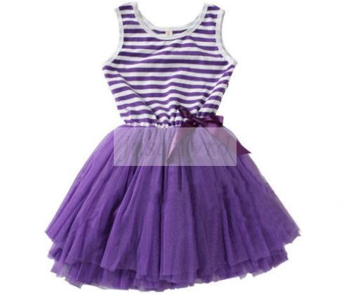 Trendy Kids Girls Baby Tutu Princess Dress Child Bow Stripe Puffy Skirts Clothes