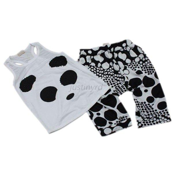 Cute Panda Two-Piece Clothes Kid Girls Boys Baby Vest Tops Blouse+Shorts Pants
