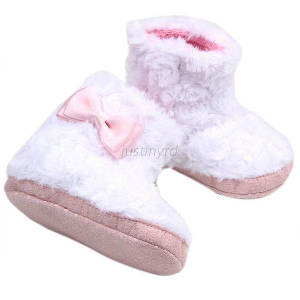 Lovely Infant Baby Girl Bow Princess Warm Plush Bootie Soft Sole Boots Shoes J71