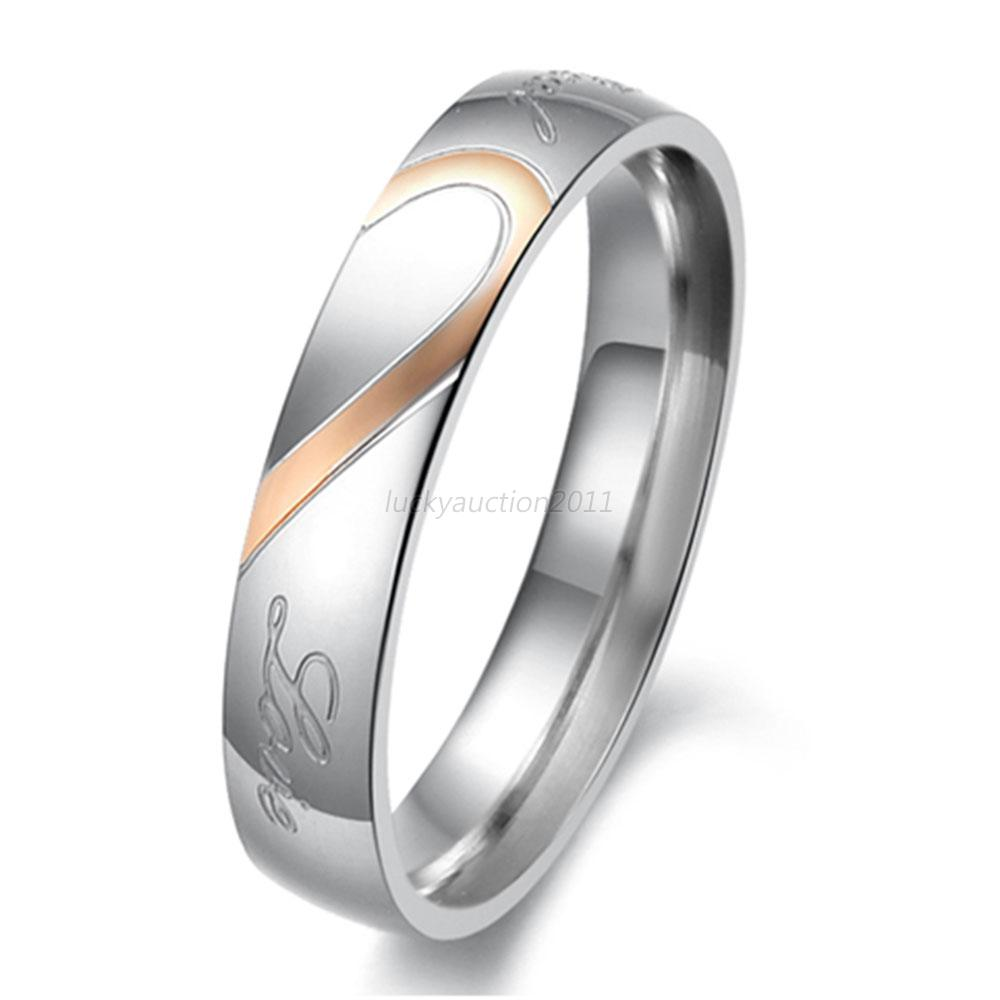 """Womens Stainless Steel """" Real Love """" Heart Couples"""