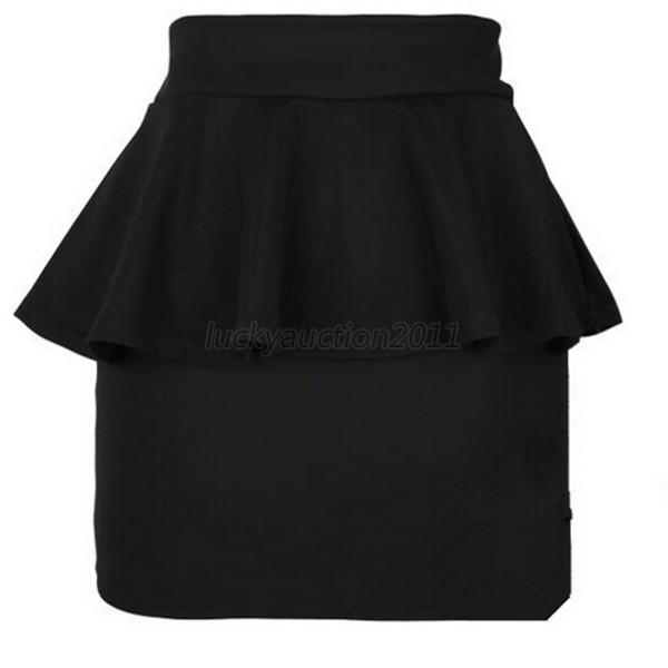 Women's Ladies High Waisted Peplum Frill Pencil Skirt Stretch Bodycon Mini Skirt