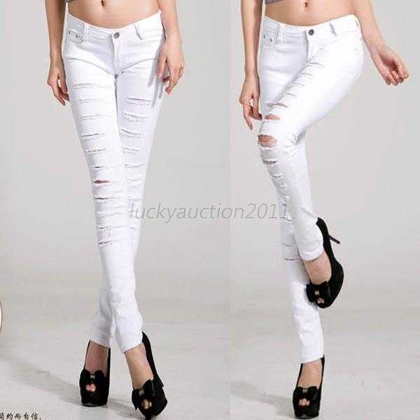 Sexy Women Punk Hole Ripped Slit Cotton Skinny Pencil Pants Damin Trouser 8-16