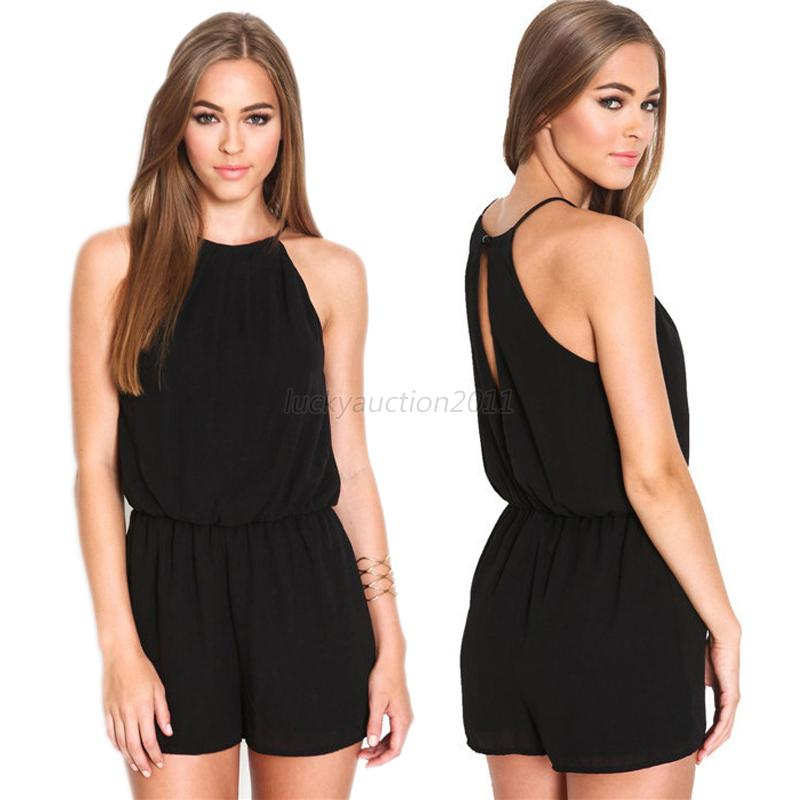 Sexy Women Sleeveless Short Pant Romper Casual Chiffon Jumpsuit Playsuit SML L17