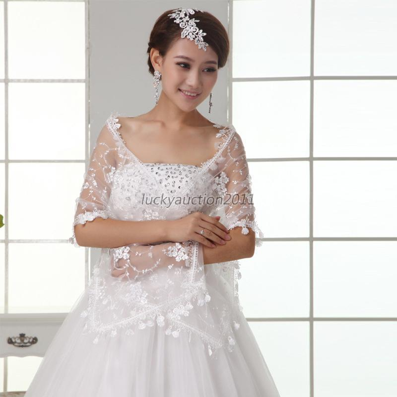 New wedding dress lace flower print shrug bolero coat for Wedding dress with shrug
