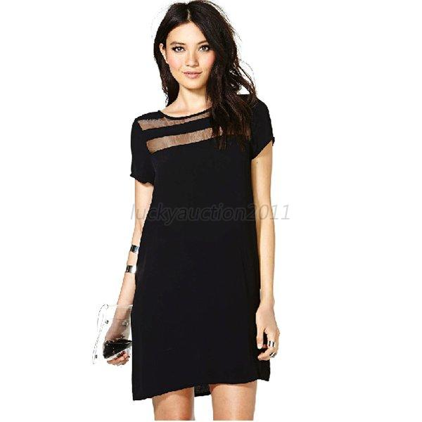 Fashion Women's Mesh Sheer Club Evening Party Skater Dress Black Summer L66