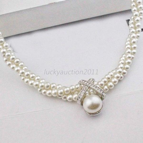 Women White Pearl Chunky Statement Bib Necklace Rhinestone Chain Pendant Jewelry