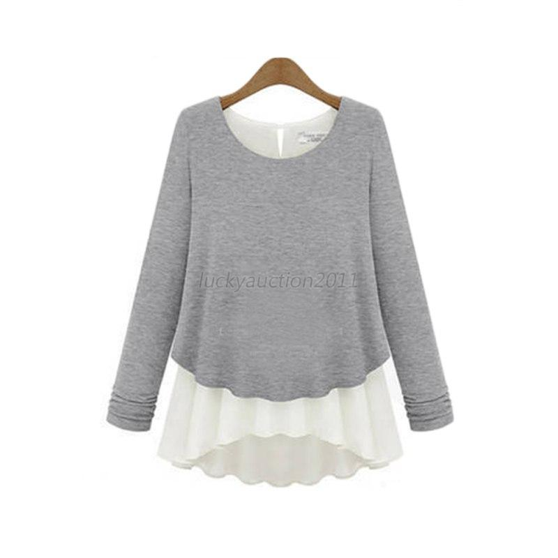 Sexy Women Casual Long Sleeve Ruffle  T-Shirt Cotton Blouse Loose Tops Blouse