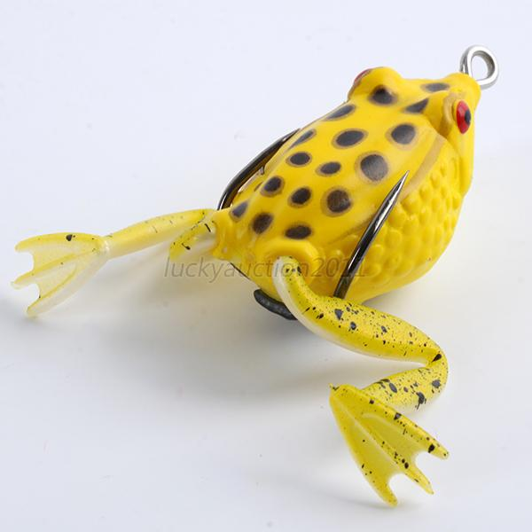 False soft rubber frog fishing lure bass bait hook tackle for Frog lures for bass fishing