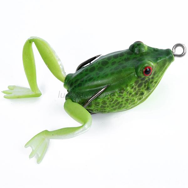 False soft rubber frog fishing lure bass bait hook tackle for Frog fishing lures