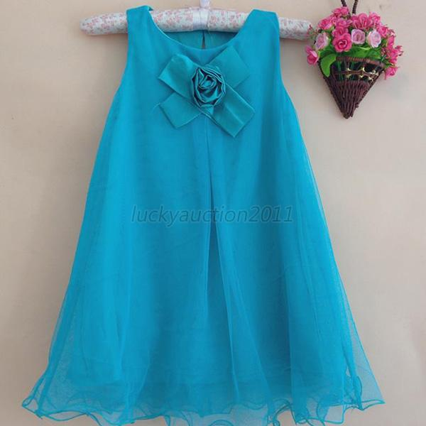 Baby Kids Girls Flower Bow Tulle Tutu Dress Sleeveless Princess One Piece Skirts