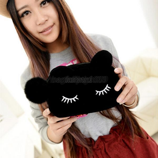 Lovely Girls Makeup Bags Comestic Cases Cat Coin Purse Suede Wallets Handbag M54