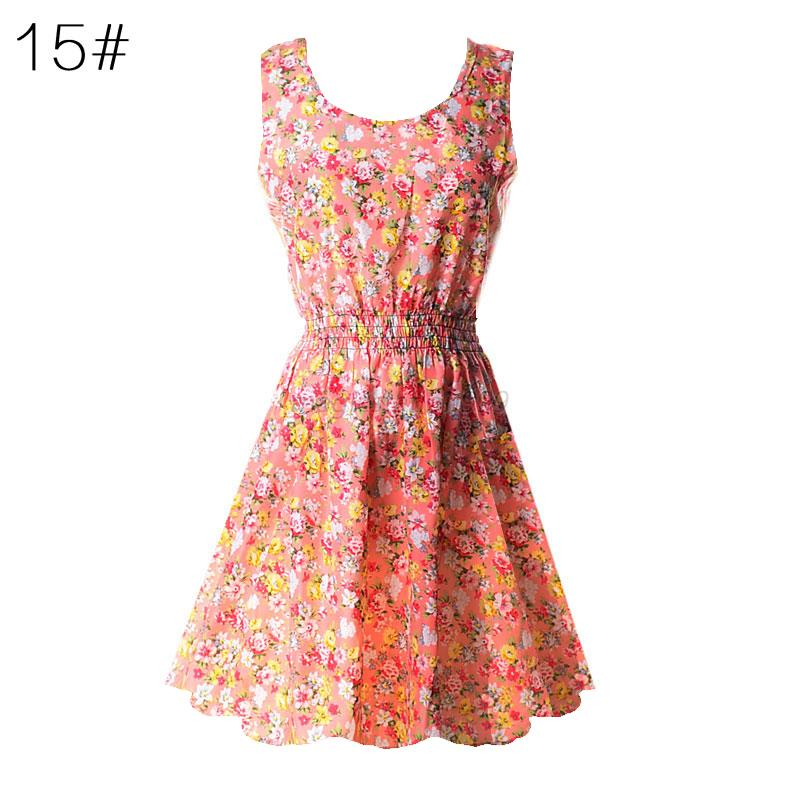 Summer Women Sexy Chiffon Sleeveless Sundress Beach Floral Tank Mini Dress M-XXL