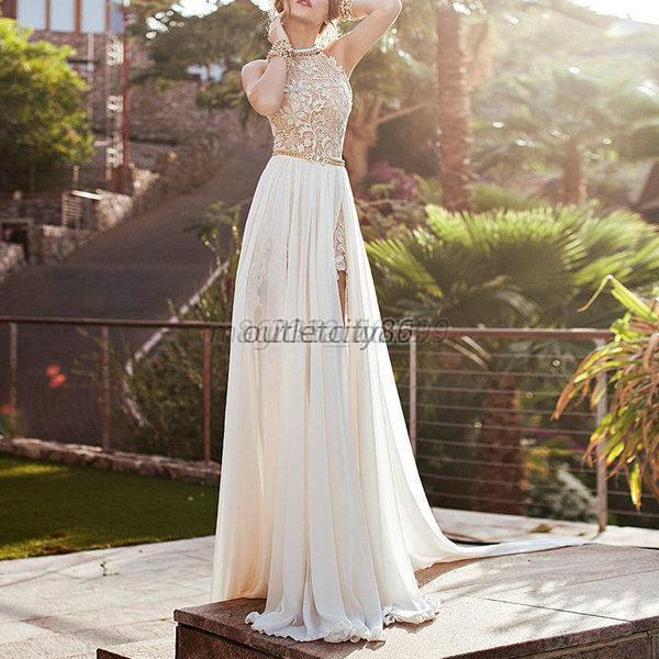 Women Lace Long Chiffon Bridesmaid Wedding Formal Gown Cocktail Dress Ivory M23