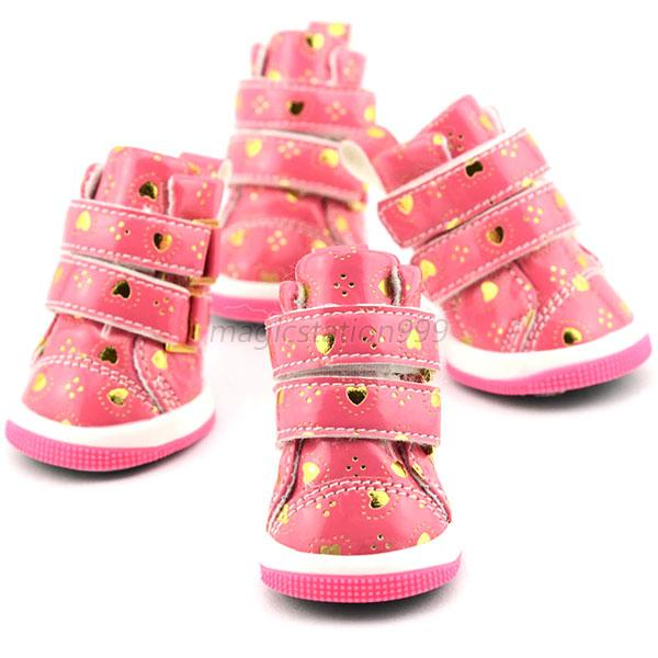 Pet PU Leather Anti-Slip Cotton Shoes Boots Sneakers Small Puppy Dog Shoes M86