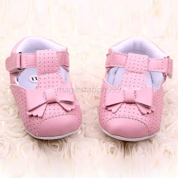Trendy Baby Toddler Girl PU Leather Shoes Bowknot Antislip Crib Shoes Prewalker