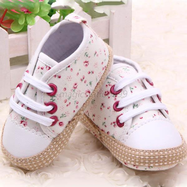 Toddler Baby Girl Floral Soft Sole Crib Shoes Sneakers