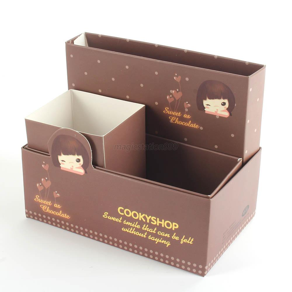 Cute cartoon paper diy stationery makeup cosmetic storage - Cute desk organizer ...