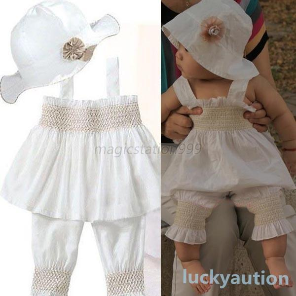 Newborn Baby Girl Kid Ruffle Top/Pants/Hat 3pcs Costume Outfit Clothes Fit 0-3Y