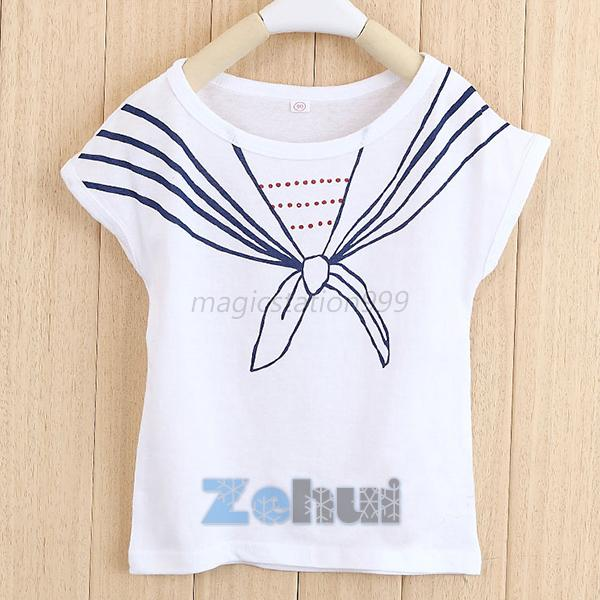 Casual Girl Kids Baby T Shirts Tie Print Navy Short Sleeve Tee Tops Age 1-5Y M42
