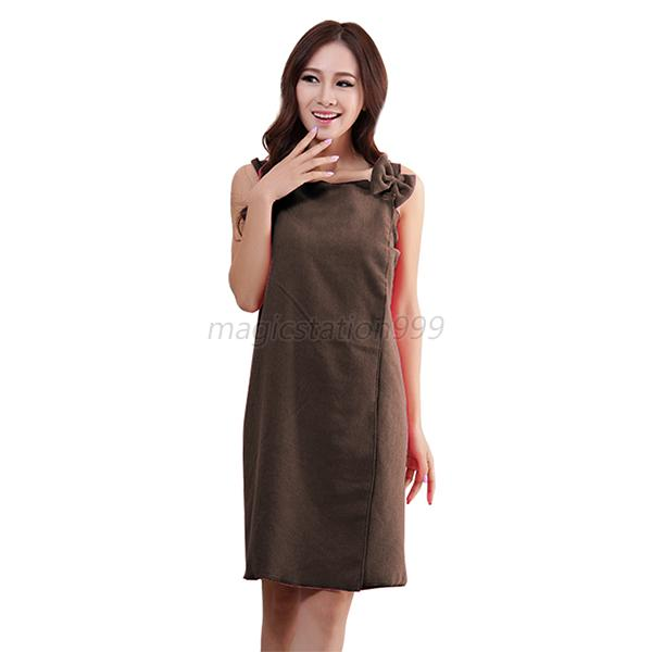Lady Women Microfiber Ventilate Cotton Bathrobe Towel Bath Beauty Home Dress